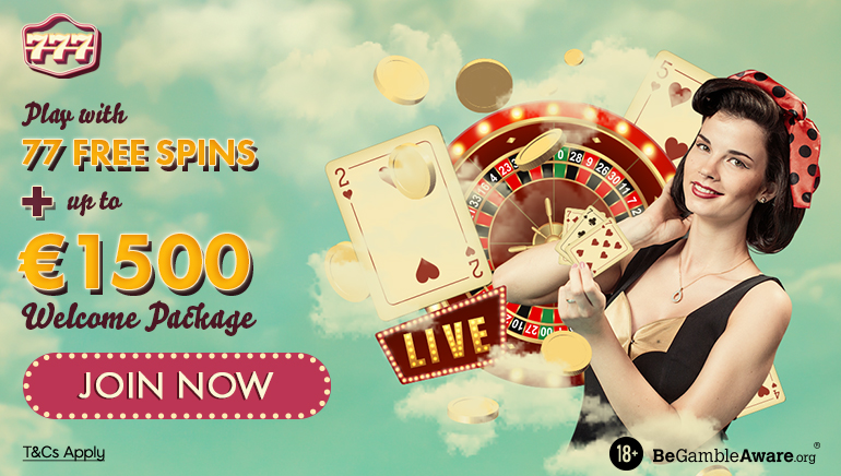 Play with 77 free spins + up to €1500 welcome package